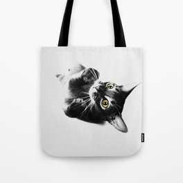 Cute Abyssinian cat  black and white Tote Bag