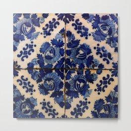 Blue old tile Metal Print