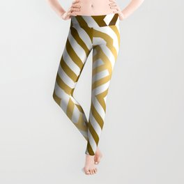 Art Deco Gold and Alabaster White Geometric Pattern Leggings
