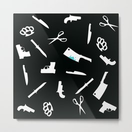 Black and White Weapons Metal Print