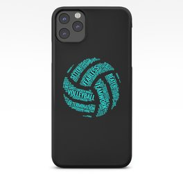 Turquoise Volleyball Wordcloud - Gift iPhone Case