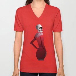 Woman skull digital Unisex V-Neck