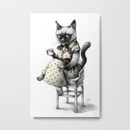 Portrait of Lady Cat Metal Print