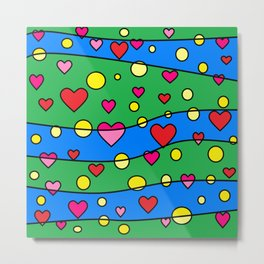 Floating Hearts and Circles Metal Print