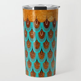 Copper Metal Foil and Aqua Mermaid Scales- Abstract glitter pattern Travel Mug