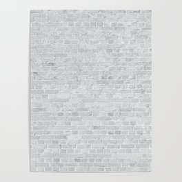 White Washed Brick Wall Stone Cladding Poster