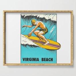Virginia Beach Retro Vintage Surfer Serving Tray
