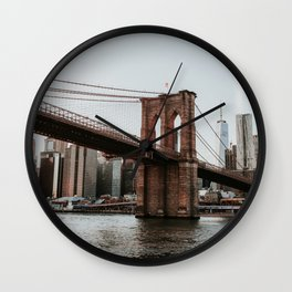 Skyline with Brooklyn Bridge | Colourful Travel Photography | New York City, America (USA) Wall Clock