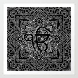 Black and white Ek Onkar / Ik Onkar  in mandala Kunstdrucke