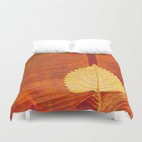 lonely Duvet Covers featuring Lonely Leaf by Klara Acel