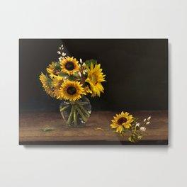 Summer Sunflowers Sitting on a Shelf Metal Print