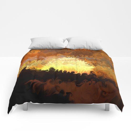 Sunset, Waves Crashing Comforters