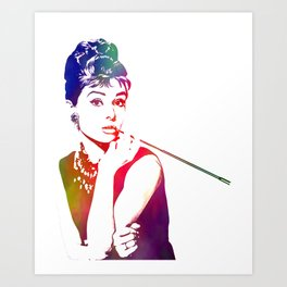 Audrey Hepburn Breakfast at Tiffany's Art Print