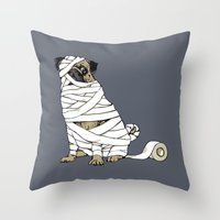 return Throw Pillows featuring The Mummy Pug Return by Huebucket