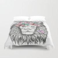 lion king Duvet Covers featuring Lion King by Sorasoraya