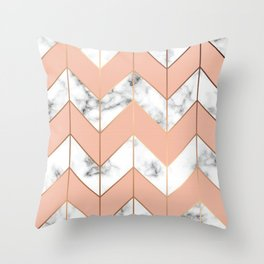 LUXE ROSE GOLD VECTOR ON BLACK AND WHITE MARBLE Throw Pillow