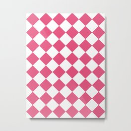 Large Diamonds - White and Dark Pink Metal Print