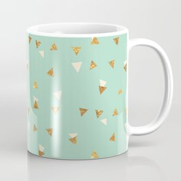 Pastel green ivory faux gold glitter abstract triangles Coffee Mug
