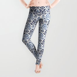 Feuille Damask Pattern Blues on Cream Leggings