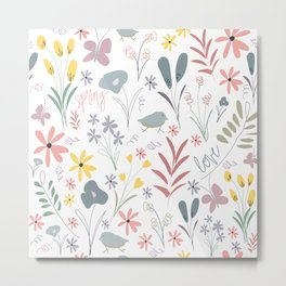 Spring Florals in White Metal Print