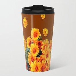 COFFEE BROWN SHOWER GOLDEN FLOWERS Travel Mug