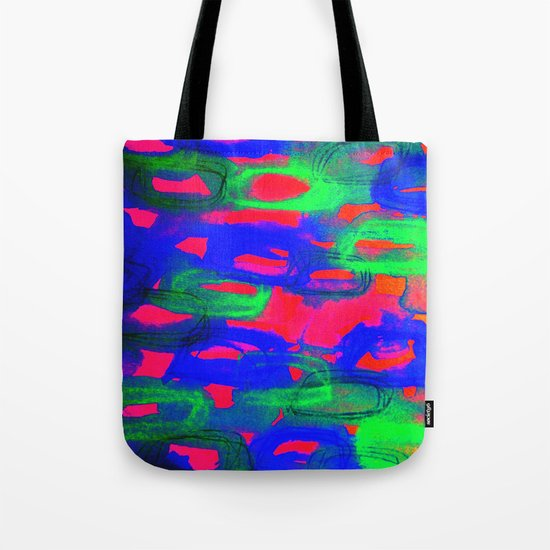 NIGHT LIFE - Bold Neon Abstract Watercolor Painting Wild Hot Pink Royal Blue Whimsical Pattern Tote Bag