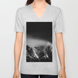 Black and white long exposure of clouds above mountain Unisex V-Neck