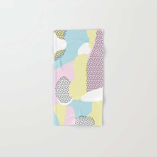 Candy Pink Blue Blobs & Dots Pattern Hand & Bath Towel