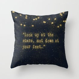Look up at the stars, not down at your feet - gold glitter effect Typography Throw Pillow
