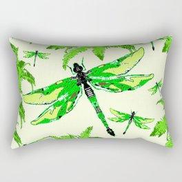 TROPICAL FERNS & EMERALD GREEN  SWAMP DRAGONFLIES Rectangular Pillow