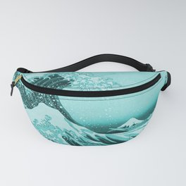 Aqua Blue Japanese Great Wave off Kanagawa by Hokusai Fanny Pack
