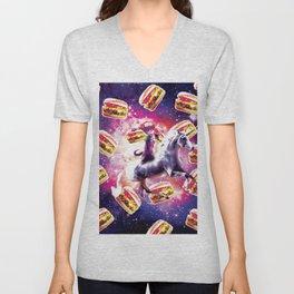 Rave Space Cat On Unicorn - Burger Unisex V-Neck