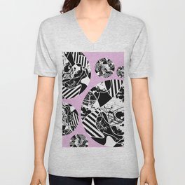 Black And White Bubbles 2 - Multi patterned, multi textured stripes, paint splats and marble on pink Unisex V-Neck
