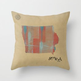 Iowa state map Throw Pillow