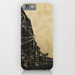 Chicago Black and Gold Street Map iPhone Case