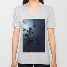 Palm Trees, Night Sky, Stars, Moon Unisex V-Neck