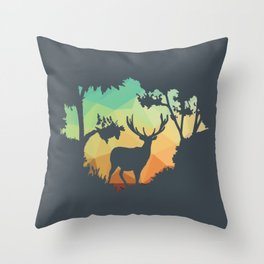 Watching Deer Silhouette in Nature Throw Pillow