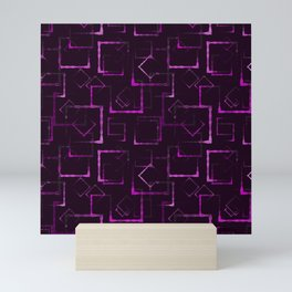 Purple carved squares and rhombuses for an abstract glowing background or pattern. Mini Art Print