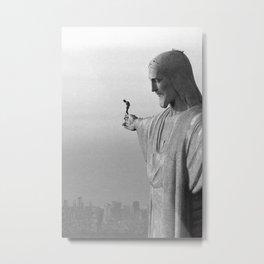 Christ the Redeemer, Rio de Janeiro, Brazil death defying dare devil black and white photography Metal Print