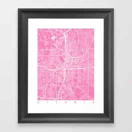 Atlanta map pink Framed Art Print