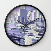 future Wall Clocks featuring Future by noirlac