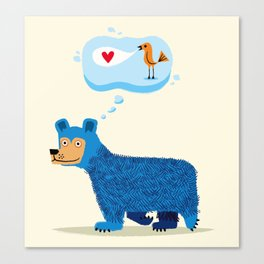Bear Thinks Of Bird Canvas Print