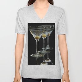 Three Martini's and three olives.  Unisex V-Neck