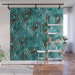 Peacock Feathers in Chic Emerald Green Diamonds Wall Mural