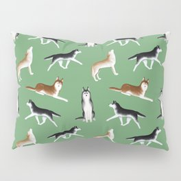Husky Pattern (Green Background) Pillow Sham