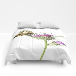 Scarce Swallowtail Butterfly Resting On Thistle Flower Comforters