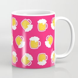 Funny Beer Glass Pattern Pink Coffee Mug