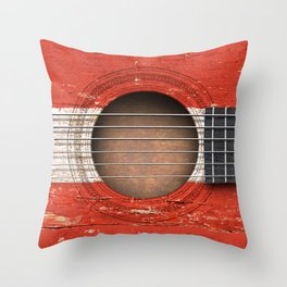 Old Vintage Acoustic Guitar with Austrian Flag Throw Pillow