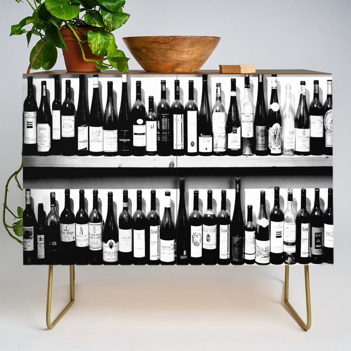 Wine_Bottles_in_Black_And_White_decor_society6_buyart_Credenza_by_PAivi_VikstrAPm__Gold__Walnut