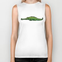 crocodile Biker Tanks featuring Crocodile by chacomics
